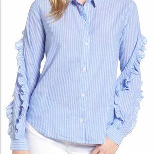 Rails ruffle pinstripe blouse